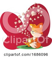 Poster, Art Print Of Fox Sitting And Drinking A Cup Of Coffee Vector Illistration In Red Blob On White Background