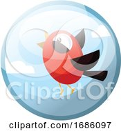 Poster, Art Print Of Cartoon Character Of A Red Bird With Black Wings Vector Illustration In Grey Light Blue Circle On White Background