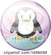 Cartoon Character Of Black And White Penguin Standing On Snow Vector Illustration In Light Violet Circle On White Background