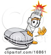 Clipart Picture Of A Spark Plug Mascot Cartoon Character Standing By A Computer Mouse And Waving by Toons4Biz
