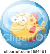 Cartoon Character Of A Red And Yellow Fish In The Water Vector Illustration In Light Blue Circle On White Background