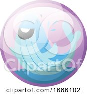 Cartoon Character Of A Happy Blue Whale In The Water Vector Illustration In Light Purple Circle On White Background