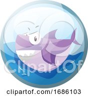 Cartoon Character Of An Angry Purple Shark In The Water Vector Illustration In Blue Circle On White Background