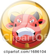 Poster, Art Print Of Cartoon Character Of A Red Angry Bull Vector Illustration In Yellow Circle On White Background