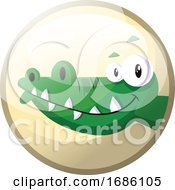 Cartoon Character Of A Green Crocodile Smiling Vector Illustration In Light Yellow Circle On White Background