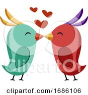 Blue And Red Bird Kissing Vector Sticker Illustration On A White Background
