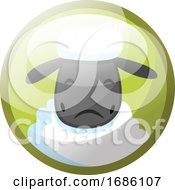 Cartoon Character Of White Sheep Looking Sad Vector Illustration In Light Green Circle On White Background