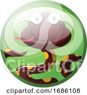 Cartoon Character Of Dark Red With Yellow Dots Smiling Snake Vector Illustration In Light Green Circle On White Background