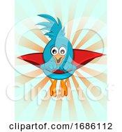 Super Blue Bird Illustration