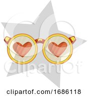 Poster, Art Print Of Golden Eye Glasses With Red Hearts In A Light Grey Star Vector Illustration On White Background