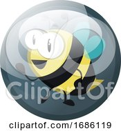 Cartoon Character Of A Bee Vector Illustration In Grey Blue Circle On White Background
