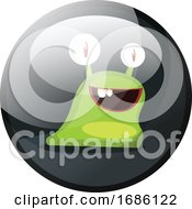 Poster, Art Print Of Cartoon Character Of A Green Smiling Snail Vector Illustration In Dark Grey Circle On White Background
