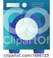Minimalistic Blue Washing Machine Vector Illustration On A White Background