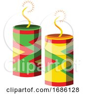 Crackers For Chinese New Year Celebrations Vector Illustration