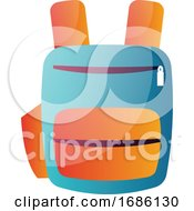 Blue And Orange School Backpack Vector Illustration On A White Background