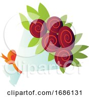 Vector Illustration Of A Boquet Of Red Roses On White Background