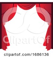 Red Curtains Simple Vector Illustration On A White Background