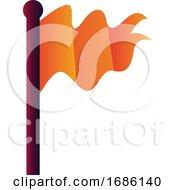 Orange Flag On Purple Stick Vector Icon Illustration On A White Background