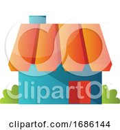Blue Hause With Orange Roof Simple Vector Illustration On A White Background