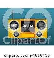 Yellow Clock Radio Illustration