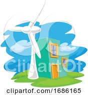 Vector Of Wind Turbine Next To A House