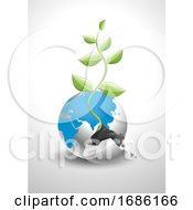 Vector Of Broken Earth With New Plant Growing Out Of It