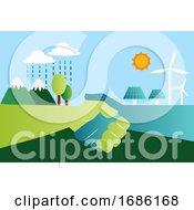 Shaking Hands For Eco Friendly Energy Resources Illustration Vector On White Background by Morphart Creations