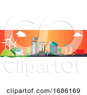 City Landscape With Windmills In The Background Illustration Vector On White Background by Morphart Creations