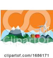 Houses In The Mountain That Have Sustainable Resources Illustration Vector On White Background