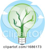 Green Light Bulb As A Symbol For Renewable Energy Resources Illustration Vector On White Background