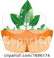 Illustration Of Hands Holding Plants Illustration Vector On White Background
