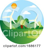 Wind As A Energy Source Illustration Vector On White Background