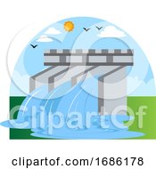 Hydroelectric Power As Eco Source Illustration Vector On White Background