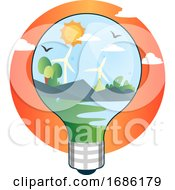 Renewable Sources Of Energy In Lightbulb Illustration Vector On White Background
