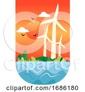 Illustration Of Windmills At A Sunset Illustration Vector On White Background