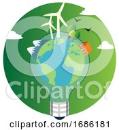 Our Planet In A Light Bulb Illustration Vector On White Background