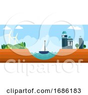 Different Types Of Renewable Energy Sources Illustration Vector On White Background