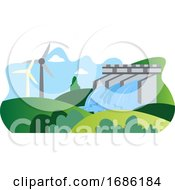 Illutration Of Windmill And Hydroelectric Energy As A Eco Sources Illustration Vector On White Background by Morphart Creations