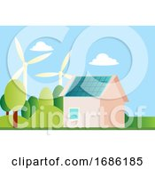 Ilustration Of A Sustainable House Illustration Vector On White Background