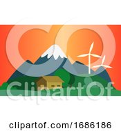 Sunset In The Mountains Where They Use Wind As A Resource Illustration Vector On White Background