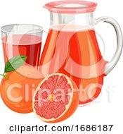 Vector Illustration Of Fresh Grapefruit Juice