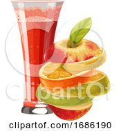 Vector Of Sliced Fruit And Glass Of Mocktail