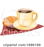 Coffee Cup With Croissants by Morphart Creations