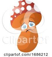 Sad Cartoon Mushroom Illustration Vector On White Background