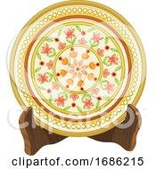 Poster, Art Print Of Vector Of Floral Porcelain Plate