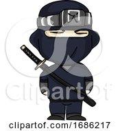 Ninja Warrior Cartoon Vector Or Color Illustration