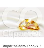 Poster, Art Print Of Two Wedding Rings On Silk Background