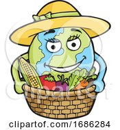 Planet Earth Farmer With Produce