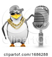 3d Rapper Penguin With Retro Radio Mic