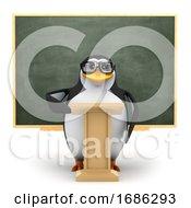Poster, Art Print Of 3d Penguin Giving A Speech